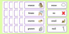 'sn' and 'n' Near Minimal Pair Word Cards