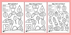 Roll and Colour Addition Activity to Support Teaching on The Very Hungry Caterpillar