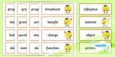 PlanIt Spelling Additional Resources Year 6 Term 3A Word Cards