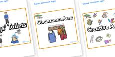 Safari Themed Editable Square Classroom Area Signs (Plain)