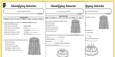 Identifying Adverbs Differentiated Activity Sheet