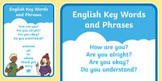 English Keywords and Phrases A4 Display Poster