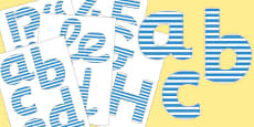 Blue and White Striped Display Lettering