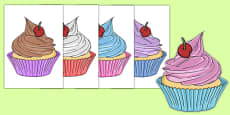 Five Cupcakes Cut Outs