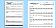 Addition to 30 with a Number Line Activity Sheet
