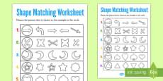 Visual Perception Shape Matching Activity Sheet