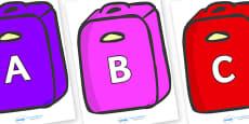 A-Z Alphabet on Suitcases