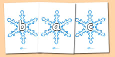 A-Z Alphabet on Snowflakes