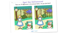 Alice in Wonderland Spot the Difference Activity