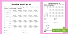 Number Bonds Within 20: Bonds to 12 Activity Sheet