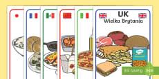 Foods Around the World Display Posters English/Polish