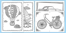 Transport Themed Mindfulness Colouring Sheets