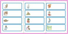 Beatrix Potter Drawer Peg Name Labels