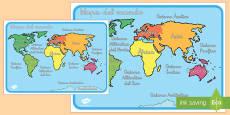 Mapa del mundo con los continentes y oceános marcados