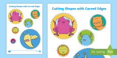 Cutting Shapes with Curved Edges Activity Sheet
