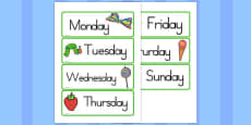 Australia - Days of the Week Cards to Support Teaching on The Very Hungry Caterpillar