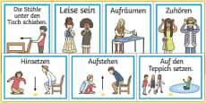 Classroom Instructions Display Posters German/Deutsch