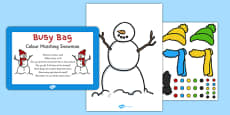 Colour Matching Snowman Busy Bag Prompt Card and Resource Pack