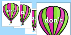 100 High Frequency Words on Hot Air Balloons