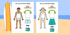 Sun, Sea and Beach Safety Cut out Activity Sheet