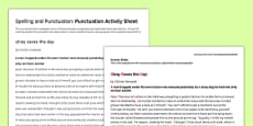 Spelling and Punctuation: Punctuation Correction Activity Sheet