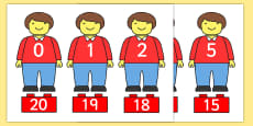 Toy Figure Number Bonds Matching Activity to 20
