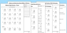 Year 4 Addition and Subtraction Activity Sheet Pack