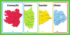 Provinces of Ireland Map Outline Display Posters