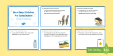 KS2 One-Step Division No Remainders Word Problems Maths Challenge Cards