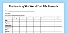 Continents of the World Fact File Research Activity Sheet