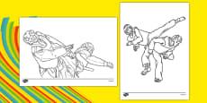 The Olympics Taekwondo Colouring Sheets