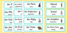 Hansel and Gretel Word Cards German Translation