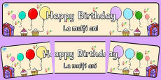 Happy Birthday Display Banner Romanian Translation