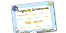 Geography Achievement Certificate