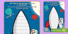 What Would I Take to Space Rocket Writing Frame - English/Italian