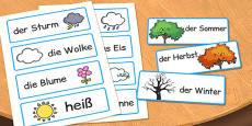 German Season Word Cards