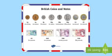 British (UK) Coins and Notes Word Mat
