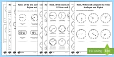 Year 4 Read, Write and Compare the Time Differentiated Activity Sheets