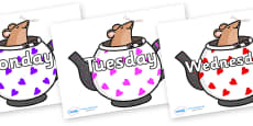Days of the Week on Mouse in Teapots
