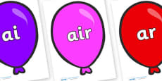 Phase 3 Phonemes on Party Balloons