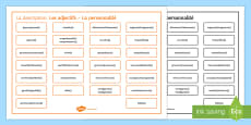 French Adjectives for Character Description Word Mat