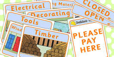 Builders Yard Role Play Signs