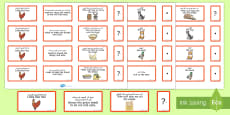 The Little Red Hen Sentence Building Cards Arabic/English