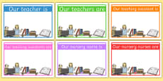 Editable Classroom Teacher/TA/NN Display Signs (Design 1)