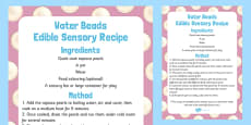 Water Beads Edible Sensory Recipe