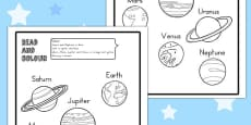 Planet Read and Colour Activity Sheet (Australia)