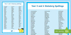 PlanIt Spelling Additional Resources Y5/Y6 Statutory Spelling Word Mat