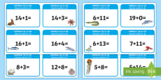 Addition up to 20 Cards English/Romanian