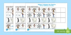 Winter Themed Complete the Pattern Activity Sheet Polish/English