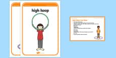 Foundation PE (Reception) High Hoop Low Hoop Warm-Up Activity Card